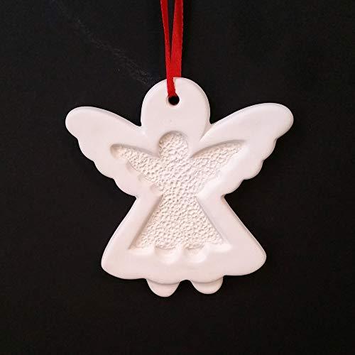 (ES ESSENTIALS Christmas DIY White Ceramic Ornaments Angel, 12 pcs )