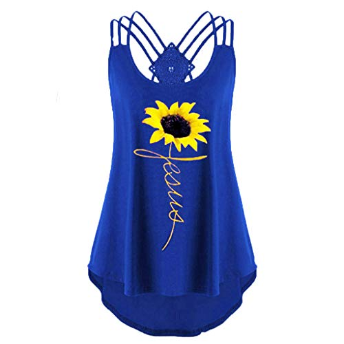 〓COOlCCI〓Womens Casual Sleeveless Sunflower Printed Criss Cross Tank Tops Halter Blouse Tops Vest Camisoles Blue ()