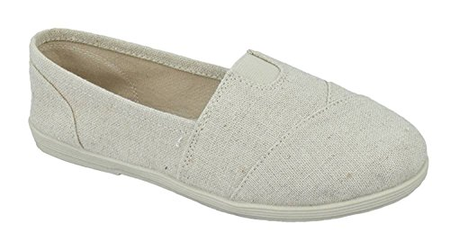 Soda Shoes Women's Obji Rnd Toe Casual Flat With Padded Insole (6 B(M) US, Beige Linen)