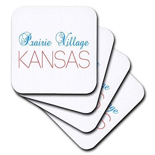 (3dRose Alexis Design - American Cities Delaware-Kansas - Prairie Village, Kansas blue, red text. Patriotic home town design - set of 8 Ceramic Tile Coasters)