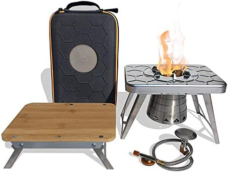 nCamp Kitchen to Go Plus, Portable Compact Multi-Fuel Burning Camping Stove, ISO Propane Adapter, Elevated Bamboo Cutting Board Prep Surface, with Carrying Bag, Great for Backpacking Hiking Outdoors