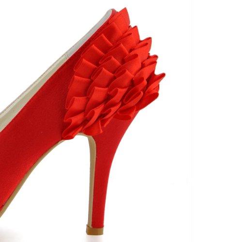 la de del satén los para GYMZ725 hecho honor plisado Minitoo a mujer estilete fiesta la noche pie mano tacón de dama bombea boda almendra dedo de de nupcial de rojos zapatos alto de AP6qnwn0x