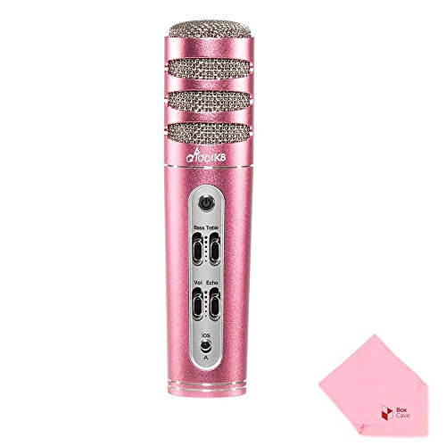 Idol K8 Plus Karaoke Condenser Microphone | Wired | Enhanced Power Output | Echo & Volume & Bass & Treble Control Button (Rose Gold) by Full Power