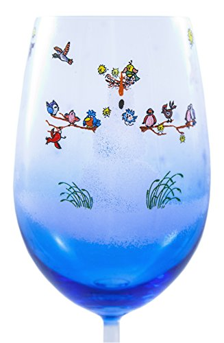 Hand Painted Snowfolks Wine Glass Design, Snowman Poses as Wintery Wonderland Sanctuary For an Array of Colorful Birds, 20 oz, Glacier Blue