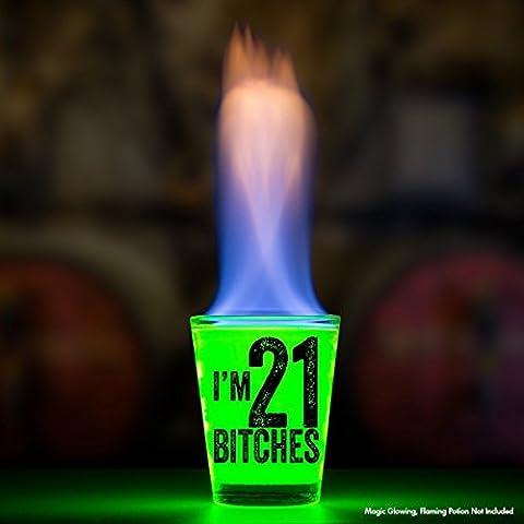 I'm 21 Bitches Shot Glass – 21st Birthday Gift – Celebrate Turning Twenty One