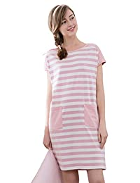 Modal Cotton Nightdress Striped Short pajamas nightwear