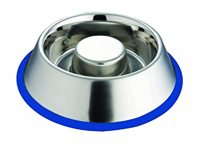 Extra Heavy Stainless Steel Non Tip, Slow Feeding Bowl by Indipets