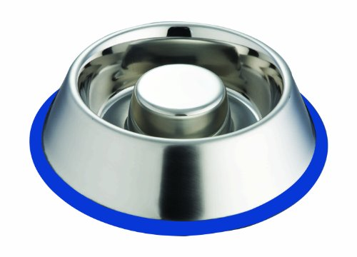 Indipets Slow Feed Stainless Steel Dog Bowl Small