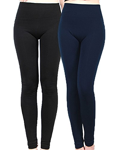 2-Pack: Women's Warm Fleece Lined Leggings Tights (One Size, Black + Navy (2 Pack))