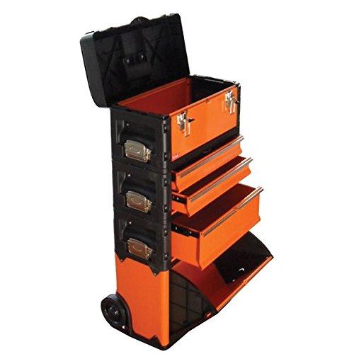 ( お徳用 2個セット) TRAD 合体式ツールチェスト ツールボックス 【5段】 キャスター付 TRD-TC5 オレンジ 黒 〔DIY 大工道具〕 B01MQ69APS
