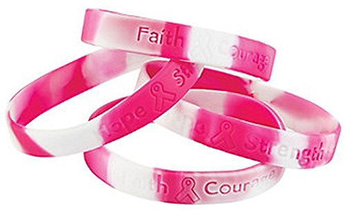 Fun Express 12 Ribbon Silicone Camouflage Bracelets Breast Cancer Awareness Wrist Bands, Pink ()