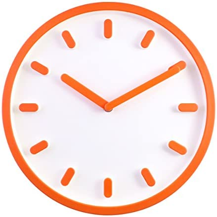 JustNile 3D Modern Contemporary Solid Color Wall Clock – 12 Round Orange