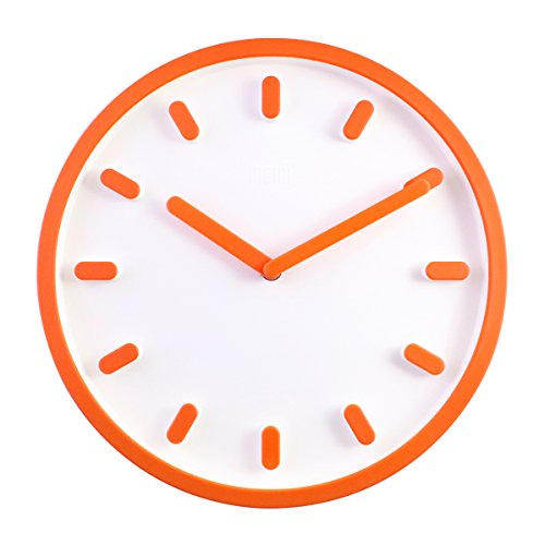 Orange 12 Inch Wall Clock - JustNile 3D Modern Contemporary Solid Color Wall Clock - 12