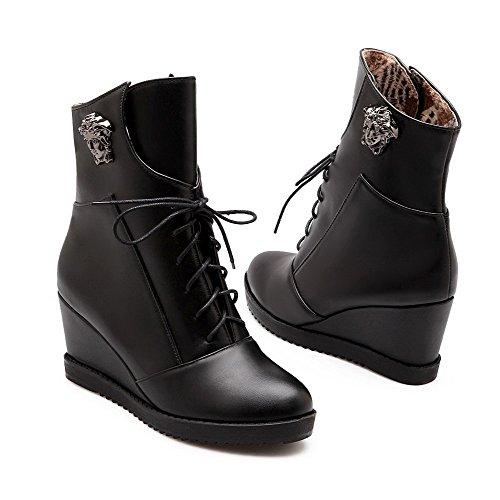AllhqFashion Mujeres Cordones Plataforma Cuña Sólido Caña Baja Botas con Ornamento Metal Negro