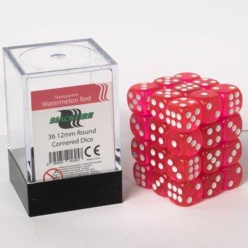 ADC Blackfire Entertainment 91695D6Cube Dice Set, Trasparente Anguria Rosso, 36x 12mm