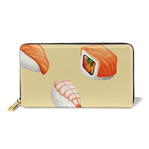 Women Leather Wallet Zipper Around Clutch Purse Waterproof Card Holder Slim Handbag - Sushi -