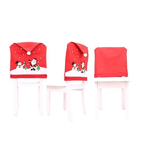 4/8/12 Fundas para Silla de Comedor de Navidad Cubiertas de Gorro de Santa Claus Articulo de Decoración de Mesa para Celebración Navidad Accesorio de Adorno ...