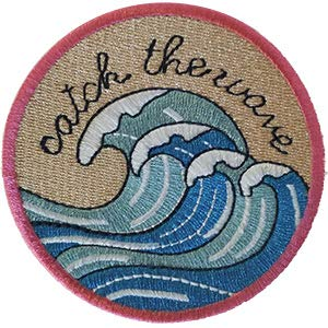 Surfing Catch The Wave - Sew Iron on, Embroidered Original Artwork - Patch - 3.8