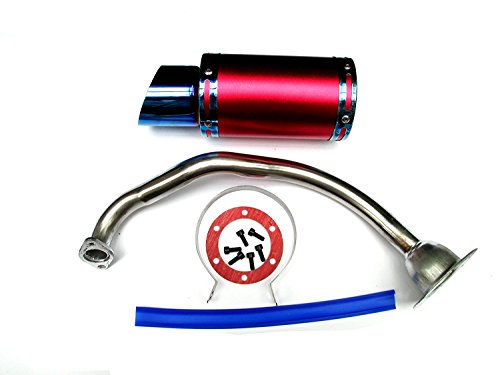 NEW! Exhaust System Muffler for GY6 50cc-400cc 4 Stroke Scooters ATV Go Kart (Red&Blue)