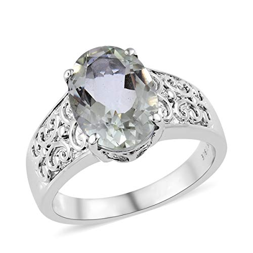 Shop LC Delivering Joy Solitaire Ring Stainless Steel Oval Green Amethyst Gift Jewelry for Women Size 11 Cttw 4.1