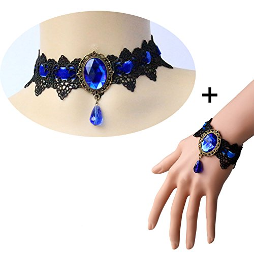 Youniker Retro Handmade Choker Necklace and Bracelet Jewelry Set for Halloween Costume Party Women Gothic Black Lace Necklace Punk Royal Court Vampire Choker Pendant (Retro Costumes Jewelry)