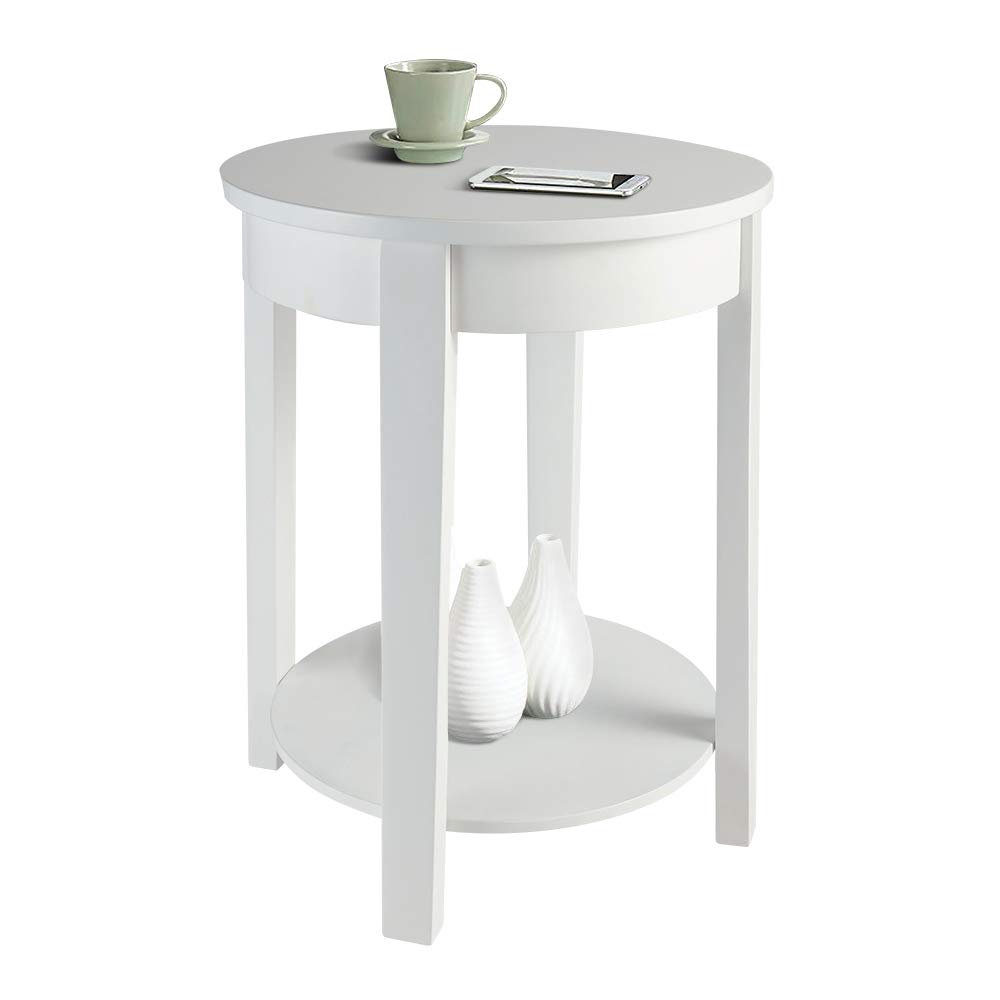 HOME BI Round Side Table, Wood Accent Table for Living Room 2 Tier Storage End Table (White)