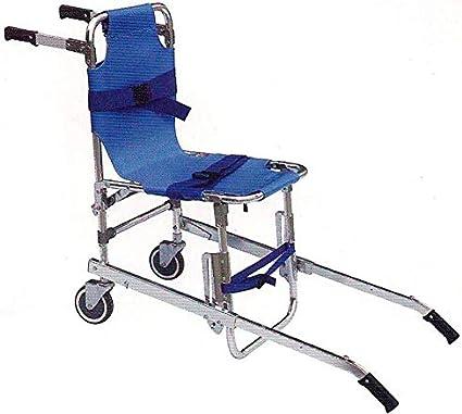 GLJY Silla de Escalera, EMS Emergencia 4 Ruedas Ambulancia Bombero Evacuación Silla de Transporte médico Silla de Ambulancia Plegable,Azul