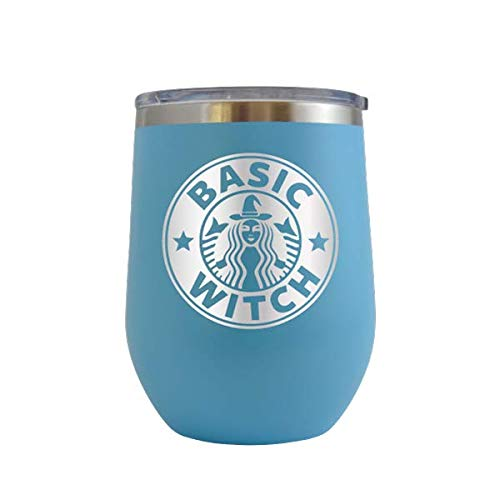 Basic Witch - Engraved 12 oz Stemless Wine Tumbler Cup Glass Etched - Funny Birthday Gift Ideas for him, her, mom, dad, husband, wife Halloween costume pumpkins halloweentown (Baby Blue -