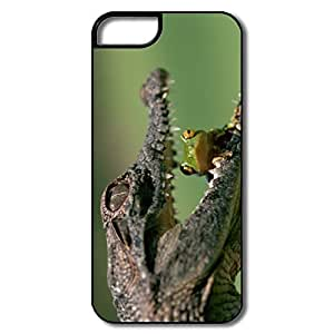 IPhone 5 Cover, Crocodile Eating Frog Cover For IPhone 5 - White/black Hard Plastic