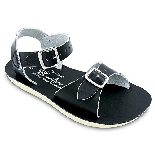 Salt Water Sandals by Hoy Shoe Baby Sun-San Surfer Flat Sandal, Black, 8 M US Toddler - Image 1