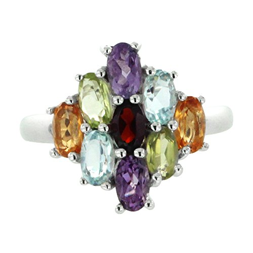 Multi Gem Ring (Rhodium Plated 925 Sterling Silver Multi Gemstone Cluster Ring, Size 7)
