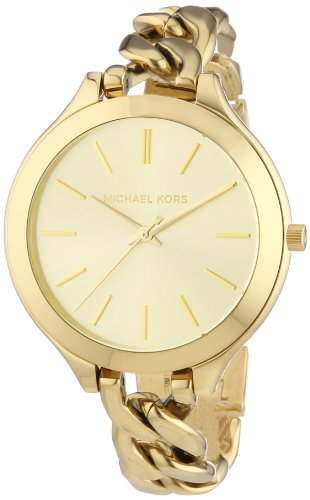 Michael Kors Slim Runway Champagne Dial Gold-tone Ladies Watch MK3222