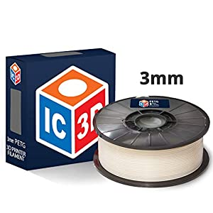 Ic3d white 3mm petg 3d printer filament – 1kg spool – dimensional accuracy +/- 0.05mm – professional grade 3d printing filament – made in usa