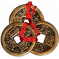Ouken Femitu Chinese Red Enless Knot Feng Shui Coins to Attract Wealth and Health - 3 sets of 3