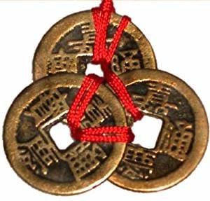 Femitu Chinese Red Enless Knot Feng Shui Coins to Attract Wealth and Health - 3 sets of 3 ()