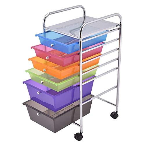 Neru Shop Steel Frame 6 Drawer Rolling Storage Cart Tools Scrapbook Paper  Office