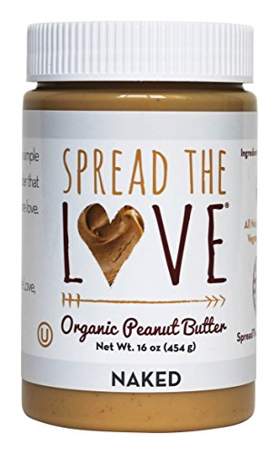 Spread The Love NAKED Organic Peanut Butter, 16 Ounce (Organic, All Natural, Creamy, No added salt, No added sugar, No palm oil)