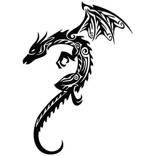 Dragon Golden Metal - Tribal Decal [12cm Black] Vinyl Sticker for Car, Ipad, Laptop, ()