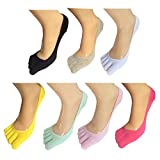 Lantee No Show Full Toes Socks for Women, Pack of 7