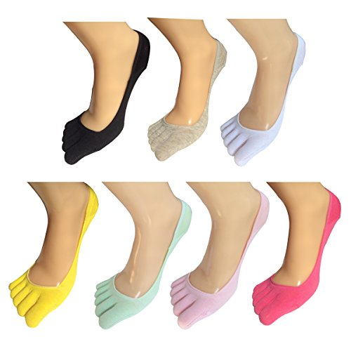 Lantee No Show Full Toes Socks for Women, Pack of 7 by Lantee