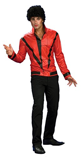 Michael Jackson Mask (UHC Men's Michael Jackson Red Thriller Jacket Party Fancy Costume, Large (42-44))