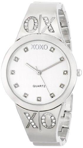 (XOXO Women's XO5216 Silver Dial Silver-tone Half Cuff and Half Bracelet Watch )