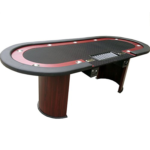 IDS-Vendor-Professional-Solid-Wood-Poker-Table-10-Players-Dining-Top-with-Double-Steel-Toke-Drop-Box-96-L-x-43-W-X-30-H-Oval-Black