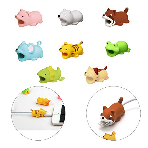 Hub's Gadget [8-Pack] Cable Bites, Animal Bite Cable Protector for Phone Cable Cords, Including Polar Bear/Cat / Tiger/Mouse / Frog/Frilled Lizard/Pig / Lesser Panda