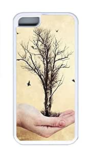 iPhone 5C Case, Personalized Custom Rubber TPU White Case for iphone 5C - Tree In My Hand Cover