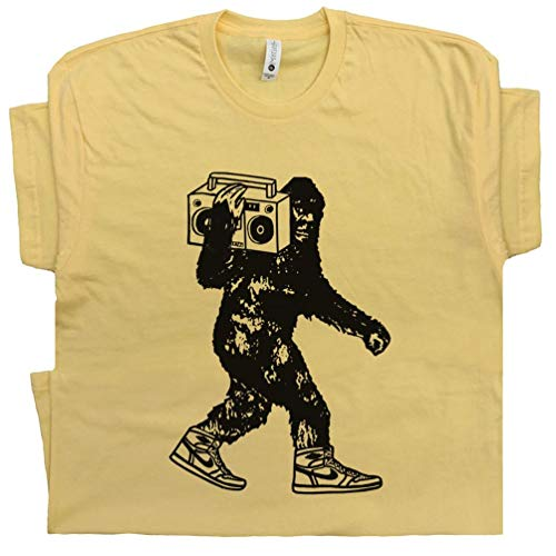 L - Stereo Bigfoot T Shirt Beastie Sasquatch Tee Vintage Jam Band Music Reggae 80s 90s Hip Hop DJ Record Player Graphic Yellow