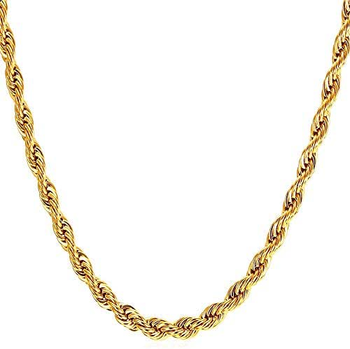 WINNICAC 24K Gold Plated Rope Chian Fake Gold Chain Necklaces for Men&Women-Durable Statement Necklace-18 to 28 inches,3mm,4mm & 5mm Wide