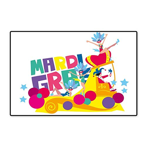 Mardi Gras Bath Mats for Bathroom Festival Parade Theme Dancers in Costumes Colorful Dots Stars Abstract Design Floor mat Bath Mat 20