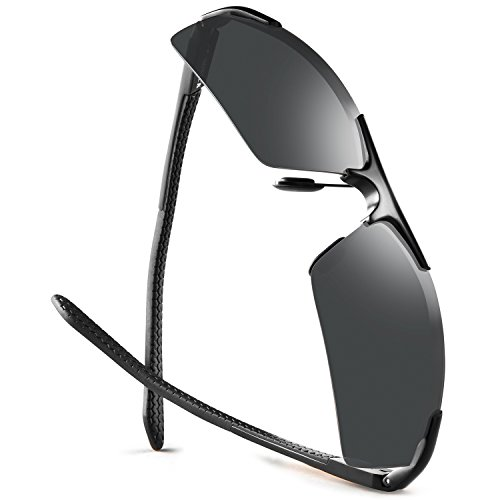 Fishing Sunglasses For Men Polarized Golfing Driving Unbreakable Metal Sunglasses Ultra Lightweight by SOXICK
