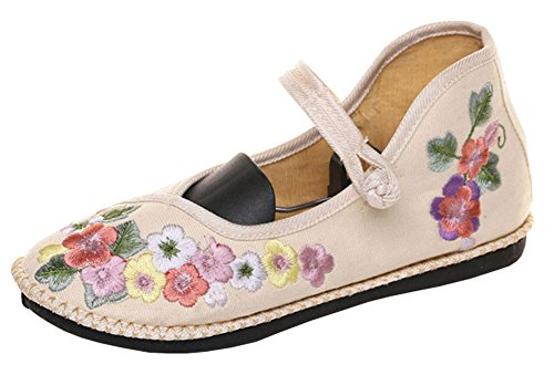 Shoes Casual Handmade AvaCostume Soft Womens Embroidery Beige Floral Walking 0Owg5q